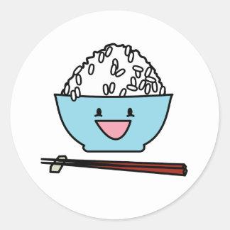 白米の箸のキャブレターの幸せなボール ラウンドシール