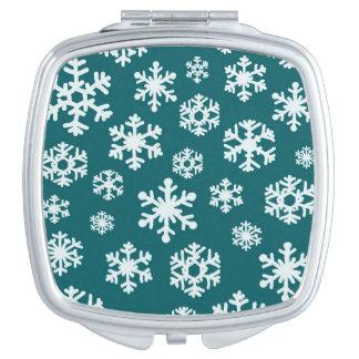 白緑の雪片のコンパクトの鏡