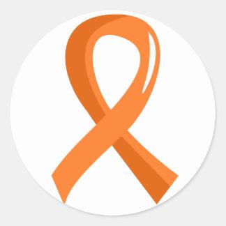 白血病のオレンジリボン3 ラウンドシール