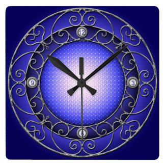 白青い錬鉄 スクエア壁時計