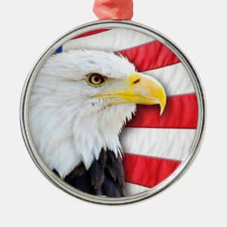 白頭鷲および旗 メタルオーナメント
