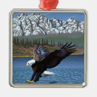 白頭鷲のダイビング-イエローストーン国立公園 メタルオーナメント