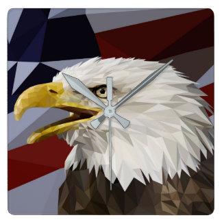 白頭鷲の米国旗の枕 スクエア壁時計