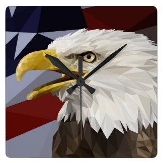 白頭鷲の米国旗の柱時計 スクエア壁時計