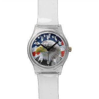 白頭鷲の米国旗の腕時計 腕時計