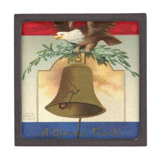 白頭鷲の自由の鐘の愛国心が強いヴィンテージの芸術 ギフトボックス