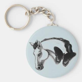 白馬および蝶デザイン キーホルダー