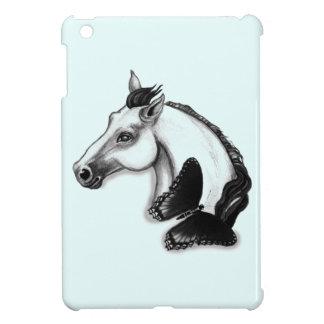白馬および蝶デザイン iPad MINIケース