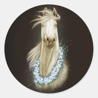白馬のポートレートのステッカー ラウンドシール