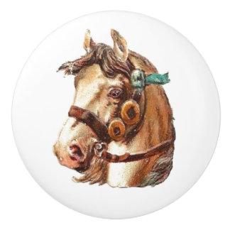 白馬のヴィンテージのビクトリアンな動物のポートレートの芸術 セラミックノブ