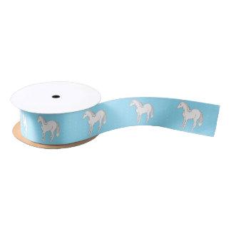 白馬の淡いブルーの水玉模様のサテンリボン サテンリボン