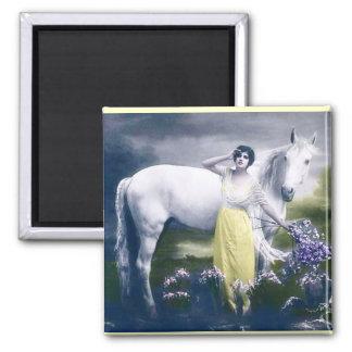 白馬を持つビクトリアンな女の子 マグネット