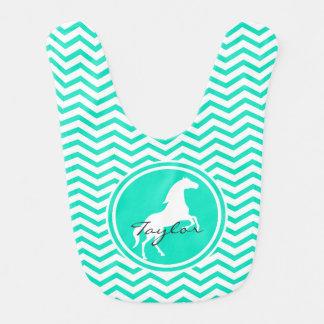 白馬; 水緑のシェブロン ベビービブ