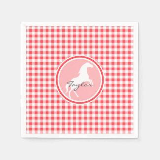 白馬; 赤と白のギンガム スタンダードカクテルナプキン