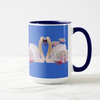 白鳥および《植物》スイレンのコーヒー・マグ マグカップ