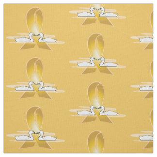 白鳥が付いている金ゴールドのリボン: 幼年期の蟹座 ファブリック