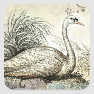 白鳥のグラフィック スクエアシール