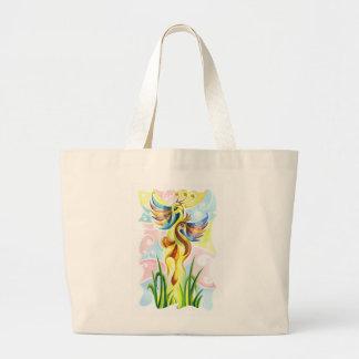 白鳥のハンドメイドの抽象的な絵画 ラージトートバッグ