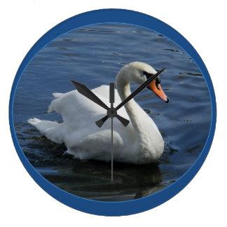 白鳥の青の時計 ラージ壁時計