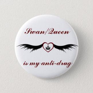 白鳥または女王ボタン 5.7CM 丸型バッジ