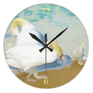 白鳥 ラージ壁時計