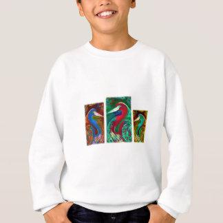 白鷺のパネル スウェットシャツ