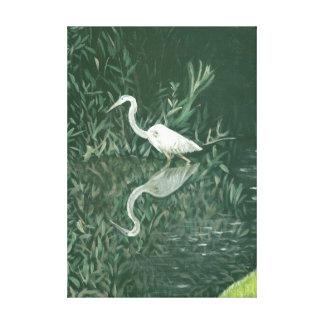 白鷺の絵画 キャンバスプリント