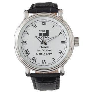 白黒あなたの会社名およびロゴのシンプル 腕時計