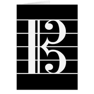 白黒いALTOクレフ、音符記号 カード