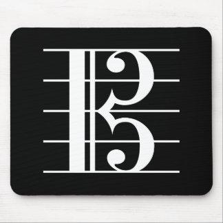 白黒いALTOクレフ、音符記号 マウスパッド