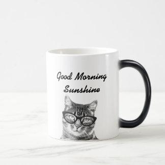 白黒おはようメッセージ11oz猫のマグ モーフィングマグカップ