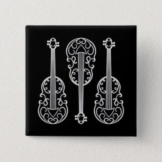 白黒おもしろいのバイオリンパターン 5.1CM 正方形バッジ