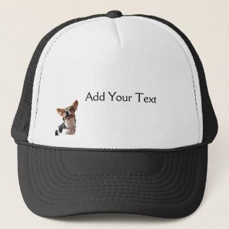 白黒およびブラウンの微笑の子犬の帽子 キャップ
