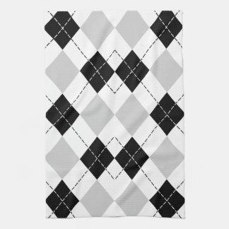 白黒および灰色のアーガイル キッチンタオル