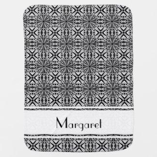 白黒および灰色の幾何学的なパターン ベビー ブランケット