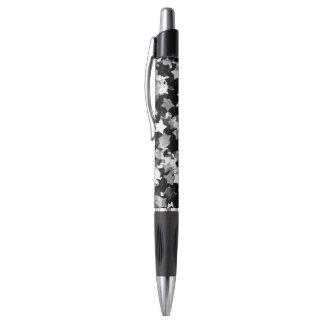 白黒かわいいの星の背景 ボールペン