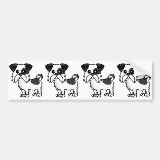 白黒かわいいシーズー(犬)のTzuの漫画のワイシャツ バンパーステッカー