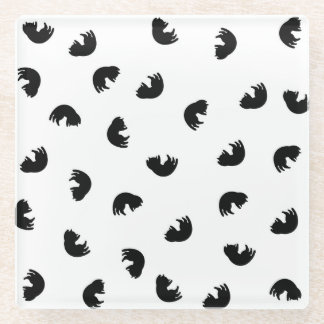 白黒かわいい猫パターン ガラスコースター