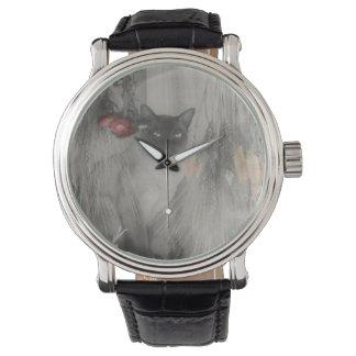 白黒で提起しているシャム猫 腕時計