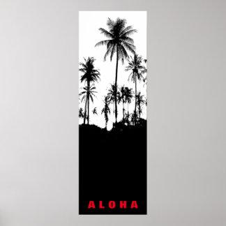 白黒のアロハハワイのヤシの木の熱帯地方旅行 ポスター