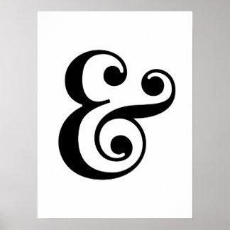 白黒のアンパーサンドの芸術のプリント ポスター