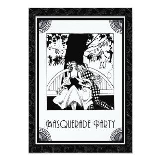 白黒のアールデコの仮面舞踏会のパーティー カード