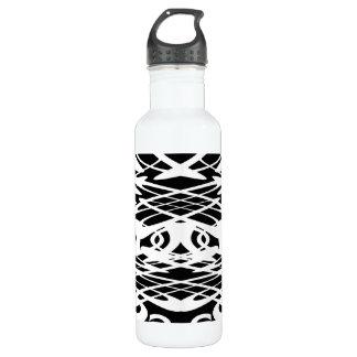 白黒のアールヌーボーパターン。 ウォーターボトル