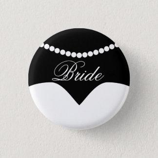 白黒のウェディングドレスの真珠のネックレスの花嫁 缶バッジ