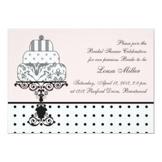白黒のウエディングケーキ、水玉模様のブライダルシャワー カード