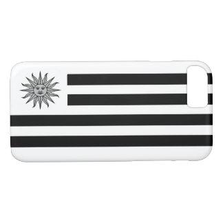 白黒のウルグアイの旗 iPhone 8/7ケース
