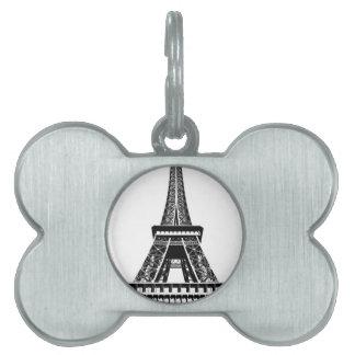 白黒のエッフェル塔のパリフランスの芸術のアートワーク ペットネームタグ