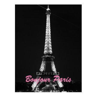 白黒のエッフェル塔のBonjourパリ夜 ポストカード