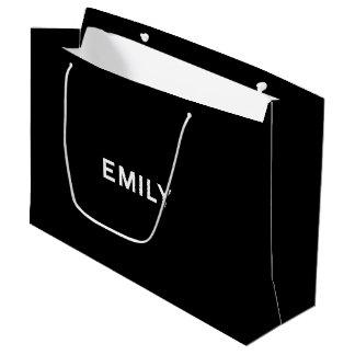 白黒のエミリーのエレガントなギフトバッグ ラージペーパーバッグ