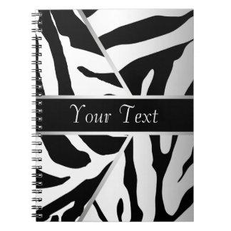 白黒のエレガントなシマウマの螺線形ノート ノートブック